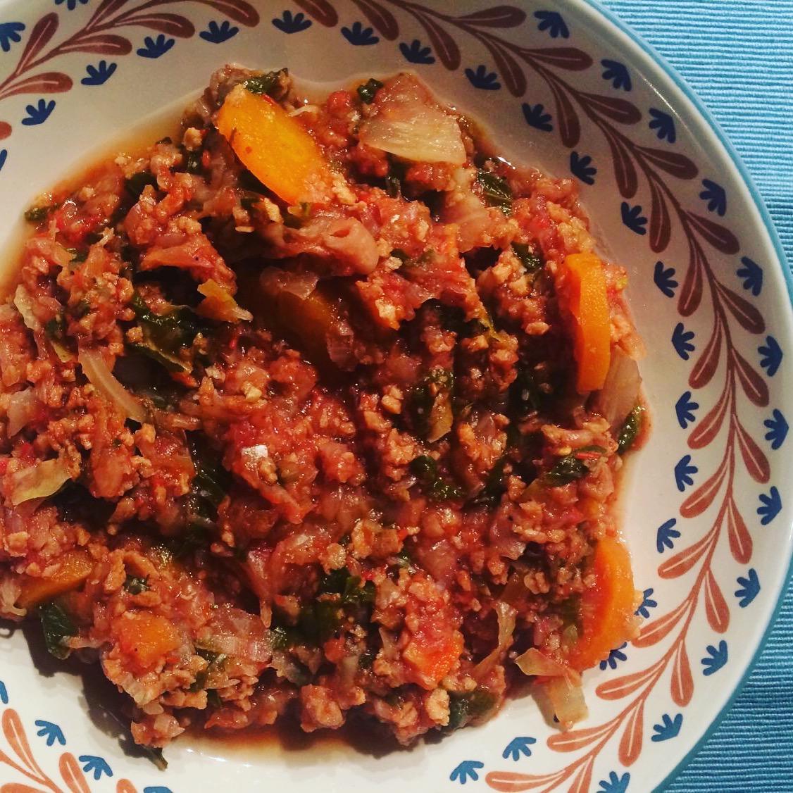 Λάχανο κοκκινιστό με κιμά σόγιας
