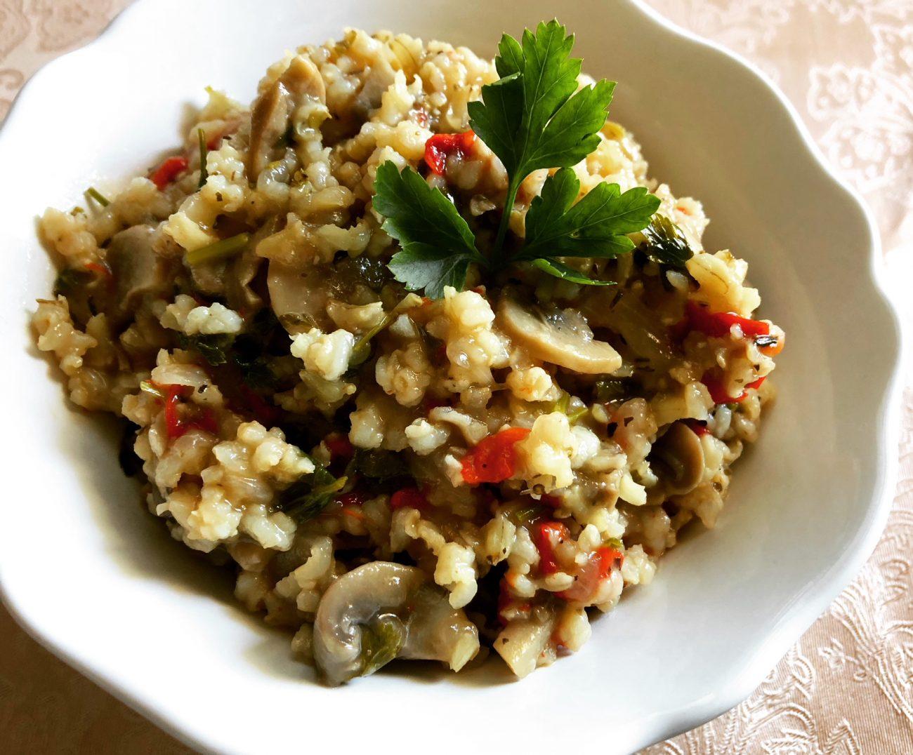 Ρύζι με μανιτάρια και κόκκινη πιπεριά